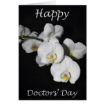 Happy Doctors' Day White Orchid Flower Greeting Card
