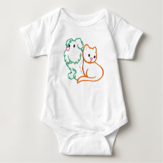 Happy Dog And Cat Baby Bodysuit