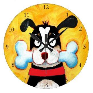 happy dog art large clock