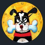 "happy dog art large clock<br><div class=""desc"">happy funny dog</div>"