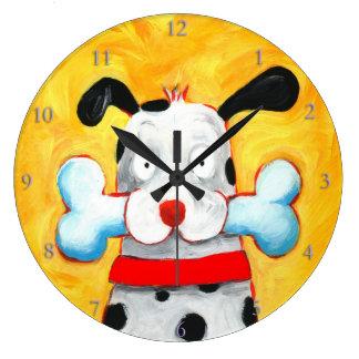 happy dog art round wall clocks