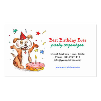 Happy Dog Birthday Cake Party Organizer Card Business Card