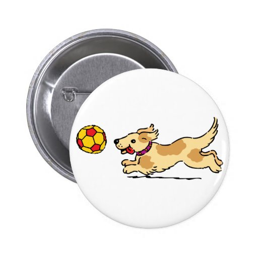 Happy dog playing with a ball pinback buttons