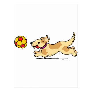 Happy dog playing with a ball postcard