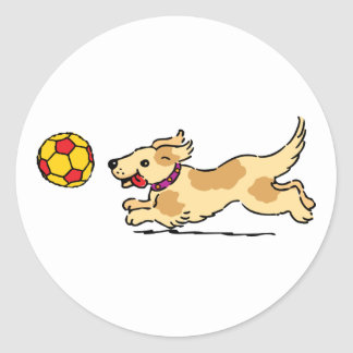 Happy dog playing with a ball stickers