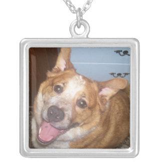 Happy Dog Square Pendant Necklace