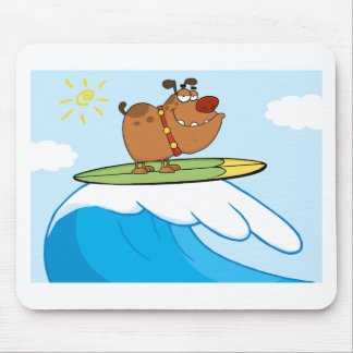 Happy Dog While Surfing Mouse Pad