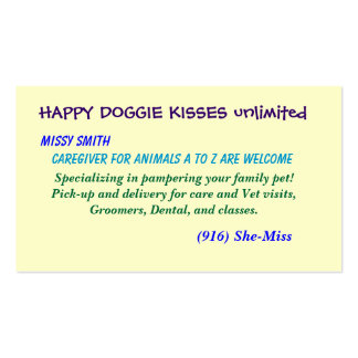 HAPPY DOGGIE KISSES unlimited, Business Card