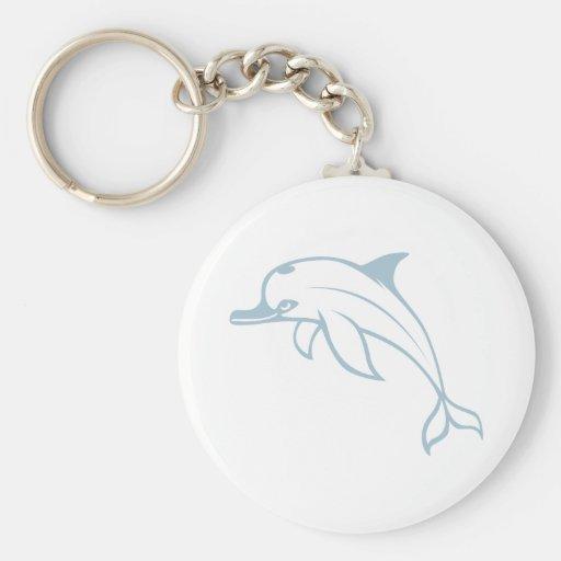 Happy Dolphin Basic Round Button Keychain