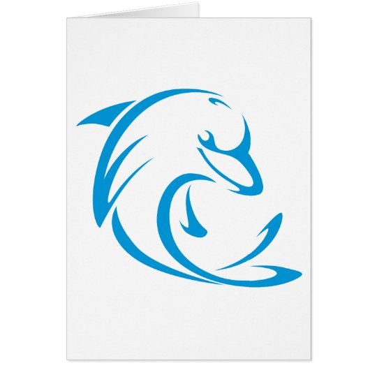 Happy Dolphin in Swing Drawing Style Card