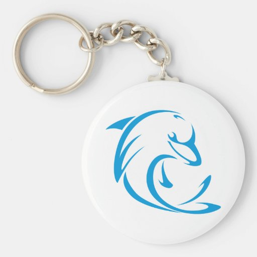 Happy Dolphin in Swing Drawing Style Key Chain