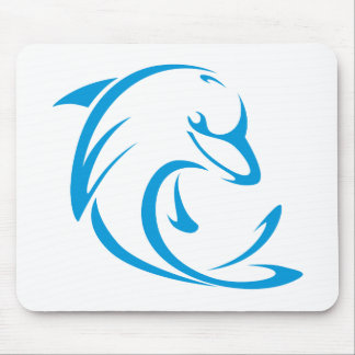 Happy Dolphin in Swing Drawing Style Mouse Pad