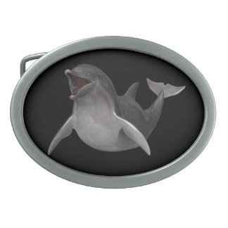 Happy Dolphin Oval Belt Buckles