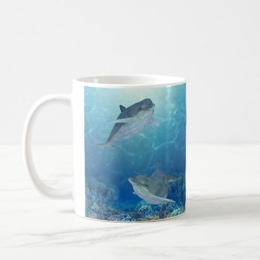 happy dolphins classic white coffee mug