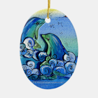 happy dolphins-pixi-art.com ceramic ornament