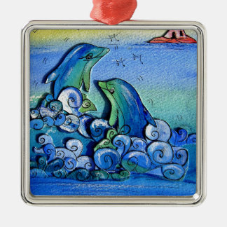 happy dolphins-pixi-art.com metal ornament