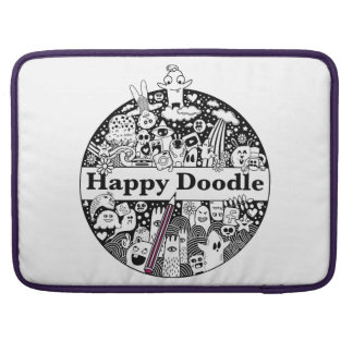 Happy doodle - Small pocket Macbook Rickshaw MacBook Pro Sleeve