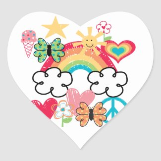 Happy Doodles Heart Sticker