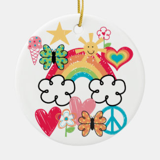 Happy Doodles Double-Sided Ceramic Round Christmas Ornament