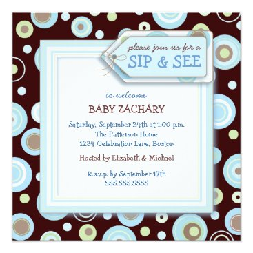 Toddler & Baby themed Happy Dot Sip and See New Baby Welcome Invitation