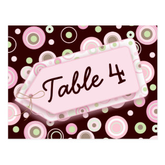 Happy Dots Pink Brown Polka Dot Table Number Card