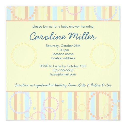 "Happy Dots & Stripes Baby Shower Invitation 5.25"" Square Invitation Card"