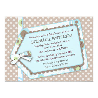 "Happy Dots Tag Boy Baby Shower Invitation 5.5"" X 7.5"" Invitation Card"