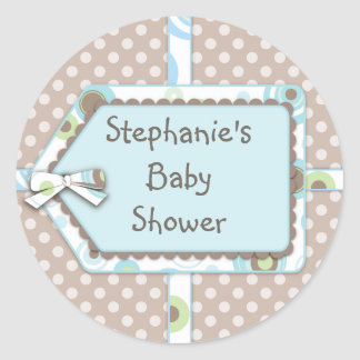 Happy Dots Tag Boy Baby Shower Sticker