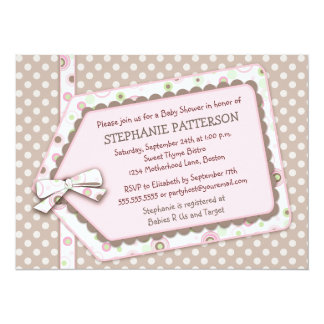 Happy Dots Tag Girl Baby Shower Invitation
