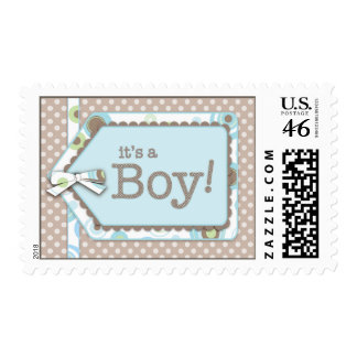 Happy Dots Tag It s a Boy Baby Postage Stamp