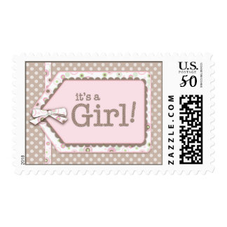 Happy Dots Tag It's a Girl Baby Postage Stamp