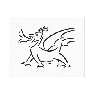 happy dragon black outline side gallery wrapped canvas