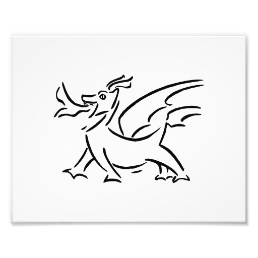 happy dragon black outline side photo print