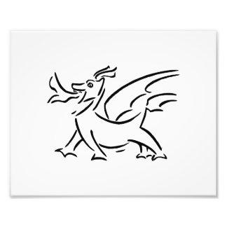 happy dragon black outline side photographic print