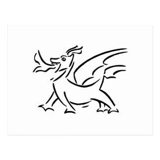 happy dragon black outline side post card