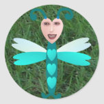 Happy Dragonfly Round Stickers