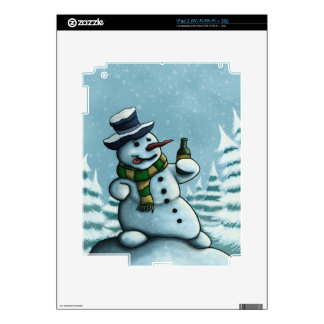 happy drinking snowman decals for iPad 2