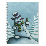 happy drinking snowman holiday notebook