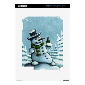happy drinking snowman iPad skin