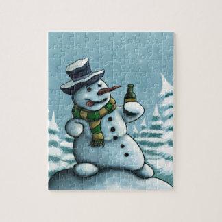 happy drinking snowman jigsaw puzzle