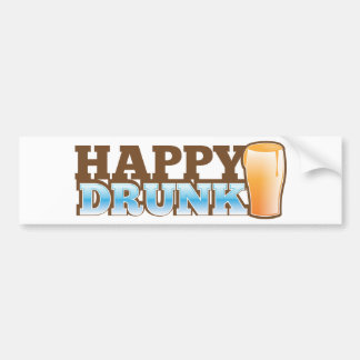 Happy Drunk! design with a beer and head Bumper Sticker