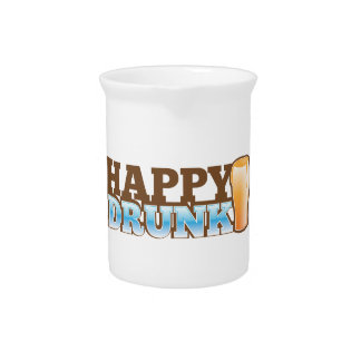 Happy Drunk! design with a beer and head Drink Pitcher