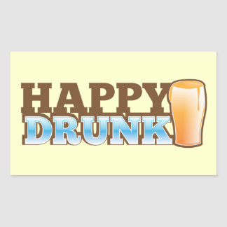 Happy Drunk! design with a beer and head Rectangular Sticker