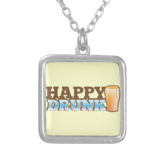 Happy Drunk! design with a beer and head Silver Plated Necklace