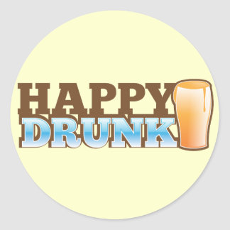 Happy Drunk design with a beer and head Stickers