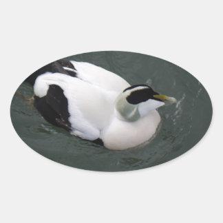 Happy Duck Oval Sticker