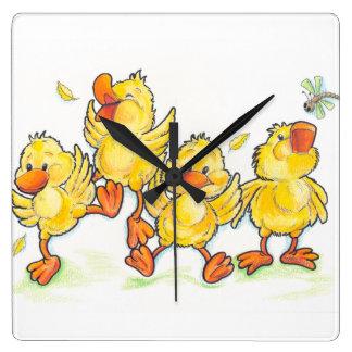 Happy Duckies Cute Kids Square Wall Clock