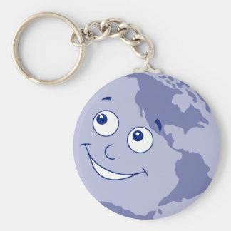 Happy Earth Blue Keychain
