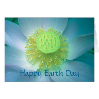 Happy Earth Day blue Lotus Card