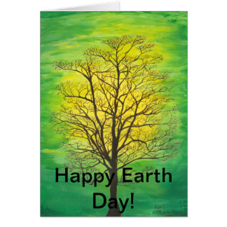 Happy Earth Day Greeting Card - Green Tree